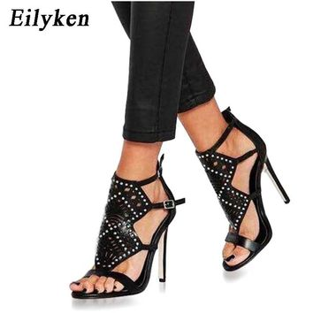 Eilyken Summer Women Sandals Gladiator Rivet Buckle Strap High heel Sexy Pumps Women Sandals size 35-40 BLACK