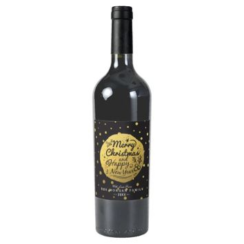 Black Gold Polka Dots Christmas & New Year Script Wine Label