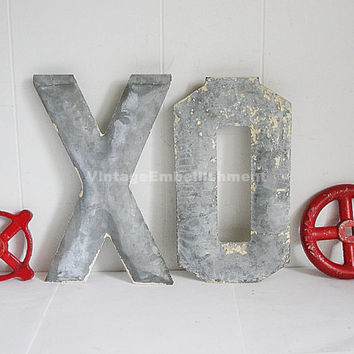 Antique Marquee Letters XO Shabby Hugs and Kisses Vintage Marquee XO