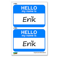 Erik Hello My Name Is - Sheet of 2 Stickers