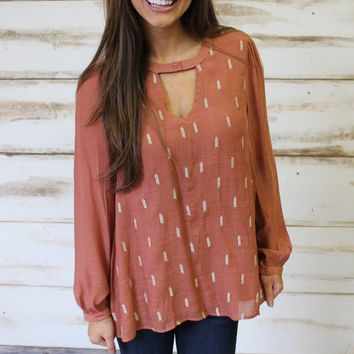 Rust Crinkled Blouse - Thirty One Boutique