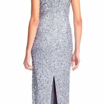 Adrianna Papell - AP1E202907 Fully Sequined Short Sleeves Evening Gown