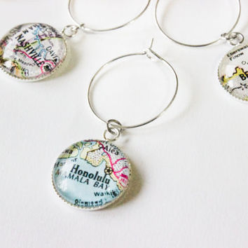 Wine Glass Markers - 6 Silver Custom Map Charms