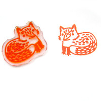 Cute Fox Rubber Stamp - Handmade Stamp, Forest Animal Stamp, Small Animal Stamp, Cute Stamp