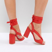 Truffle Collection Wide Fit Tie Up Block Heel Sandal at asos.com