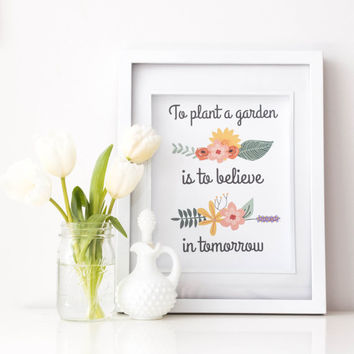 PRINTABLE Quote art // garden quote, flower quote, inspirational quote, floral print, flower print, Audrey Hepburn quote, gardening, spring