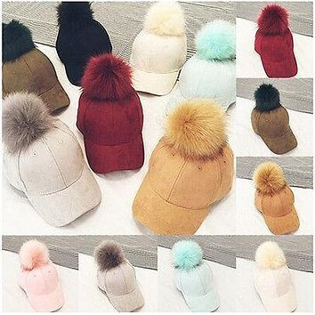 Fashion New Women Faux Fox Fur Pompom Ball Hats Suede Adjustable Baseball Cap Hip-Hop Hat