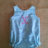 Babies, Infants, One Piece, Lined Bubble, Romper, Personalized, Monogrammed, 3mo-24mo.