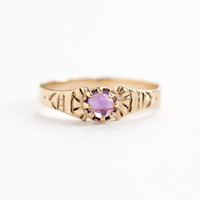 Antique Victorian 10k Rose Gold Amethyst Cabochon Ring - Vintage Size 7 Fine Purple Gemstone Cab Jewelry