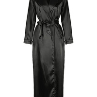 Black Lapel Tie Waist Sheer Sleeves Maxi Dress