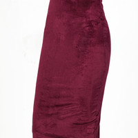 Burgundy High Waist Pencil Skirt