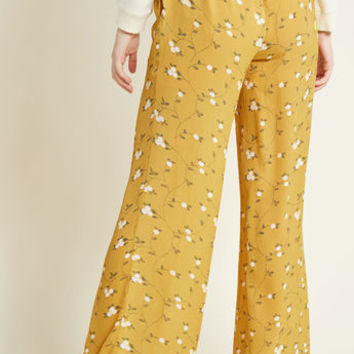 Floral Wide-Leg Palazzo Pants in Goldenrod