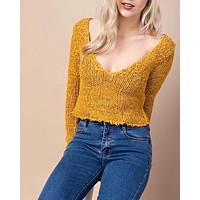 honey punch - sweet like honey cropped sweater - mustard/honey