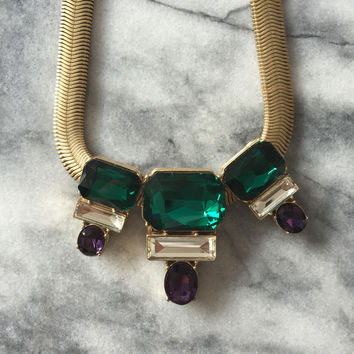 Emerald Crystal Ribbon Necklace
