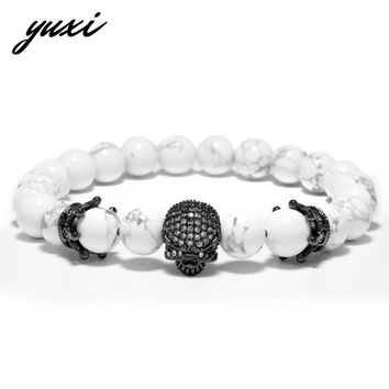 YUXI Punk Double Crown Rhinestone Skull Natural Stone Wrap Bracelets For Men Beads Chain Skeleton Charm Bracelets Male Jewelry