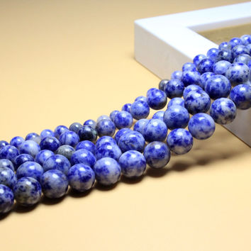 Aaa+ White Dot Blue-vein Sodalite Natural Stone Beads For Jewelry Making Diy Material For Bracelet 4mm 6mm 8mm 10mm 12mm Strand