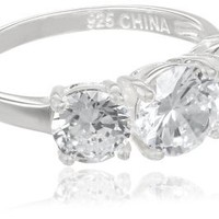Sterling Silver 3-Stone Simulated Diamond Ring: Jewelry