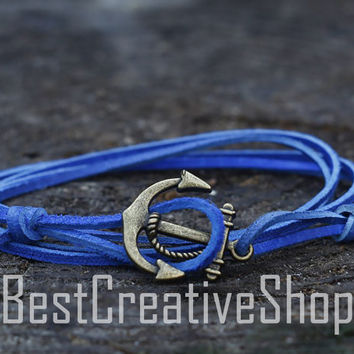 SALE! Anchor Bracelet / Blue Bracelet / Sea Nautical Suede Bracelet / Marine Bracelet / Mens Bracelet / Women Nautical Men Bracelet