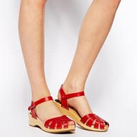 Swedish Hasbeeens Red Cross Strap Debutant Flat Sandals
