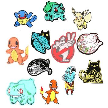 Sleeping Cats Ghostbuster Bulbasaur Squirtle INSPIRED Pokemon Go Patch Pikachu Pocket Comics Woven Emblem applique Costume