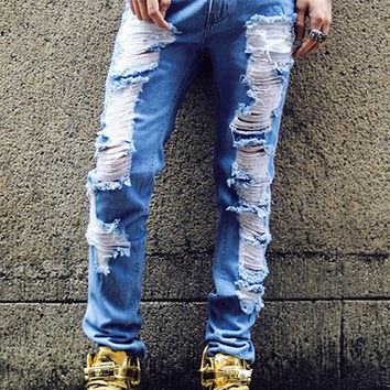 Frayed Designed Zippered Straight Leg Jeans