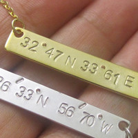 Coordinate Necklace,Personalized Bar Necklace,Custom Bar Necklace,Location Necklace,Bridesmaid Gift, Engraved Jewelry