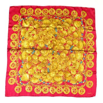 100% Authentic CHANEL RUE CAMBON 100%Silk Scarf Red & Gold Made In Italy
