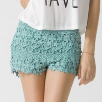 Teal Floral Crochet Shorts with Stretchable Waist