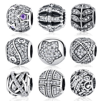 Pandora 2017 Original 925 Sterling Silver Bead Charm Full Crystal CZ Pave Beads Fit Women Bracelets & Bangles DIY Jewelry