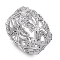 Sterling Silver Clear Cubic Zirconia Nature Design Leaf Ring