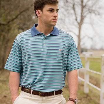 The Bermuda Performance Polo - Warwick Stripe - Collegiate - University of North Carolina Wilmington
