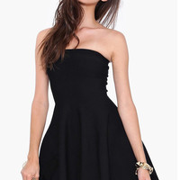Black Strapless Pleated Mini Skater Dress