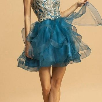 Teal Homecoming Short Dress Halter with Keyhole