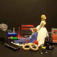 Mechanic  Bride and Groom Funny Wedding Cake Topper by mikeg1968