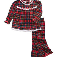 Little Me Two Piece Plaid Pajama Set