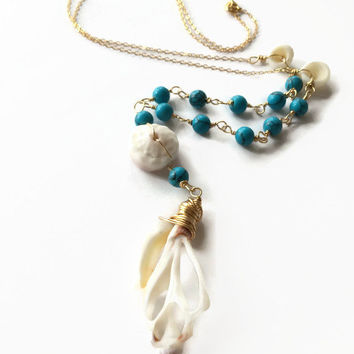 Hawaiian Shell Lariat Necklace Turquoise Bead Boho Lariat Necklace Y Necklace Hawaiian Puka Shell Sliced Shell Necklace Beach Necklace (N28)