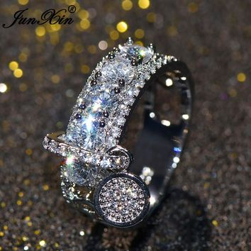 JUNXIN Luxury Female White Unique Round Ring Cute Ring Rose Gold Filled Jewelry Vintage Zircon Wedding Rings For Women