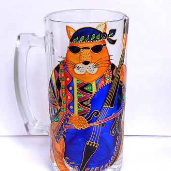 Boho cat Beer Mug. Hand painted glass mug. Large mug.