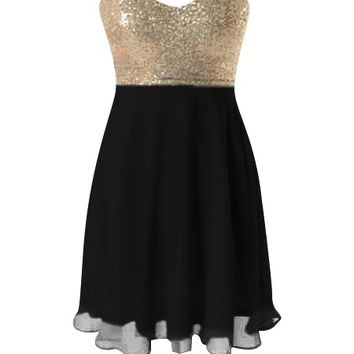 Sequin Chiffon Dress - Kely Clothing