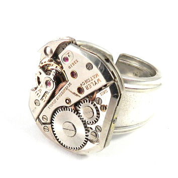 Industrial Ring - Mechanical Watch Spoon Ring - Wyler - Size 6.5