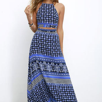 Energy Field Blue Print Two-Piece Maxi Dress