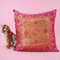 """Pink and Yellow Vintage Made Pillow 21 x 21"""""""