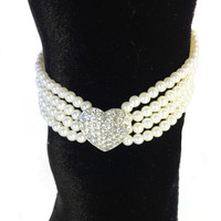 Four Strand Pearl Necklace with Crystal Heart