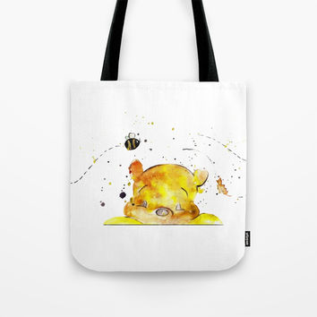 Yellow Bear Tote Bag by MIKART