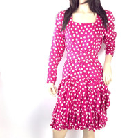 Vinage 80s Party Dress Silk Dress Pink Polka Dot Dress Spots Dress S small  size 6 Fuschia Dress Sexy Tight Party Dress
