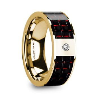Black Red Carbon Fiber 14K Yellow Gold Ring with Diamond