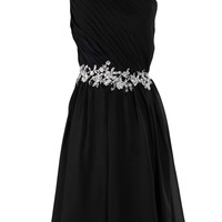 Sunvary Embroidery Waist Bridesmaid Dress Homecoming Dresses for Juniors Short- US Size 18W- Black