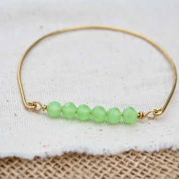 Wire Wrapped Chalcedony Colored Czech Glass, Aqua Stone Bangle, Mint Green Stone Bangle, Crystal Bangle, Bridesmaids Bangles