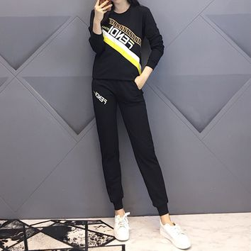 """Fendi"" Women Casual Fashion Multicolor Letter Long Sleeve Trousers Set Two-Piece Sportswear"