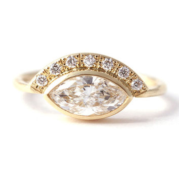 One Carat Marquise Diamond Engagement Ring with Pave Diamonds Crown - 18k Solid Gold